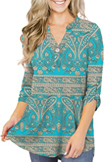 Women's Plus Size Tunic Tops 3/4 Roll Sleeves Blouses V...
