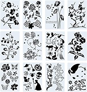 Poproo Painting Stencils Set Drawing Templates for Kids & Adults - for Bullet Journal, Planner, Scrapbook and DIY Craft (1...