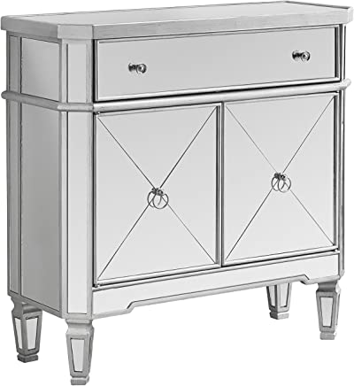 Monarch Specialties Mirrored Accent Chest,  Brushed Silver Frame,  32 L