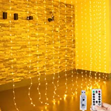 Bolansi String Lights Curtain Window,Christmas Fairy Lights String 300 LEDs,8 Modes Twinkle Lights for Wedding Party Home Garden Bedroom Outdoor Indoor Wall Christmas Decoration Warm White with USB