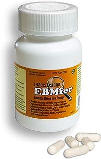 EBMfer 100 mg Iron Ferrous Ascorbate- 30 Capsules- Iron with Vitamin C- Vegan Vegetarian Capsule Pills- High Absorption Ir...