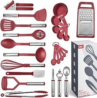 Juego de utensilios de cocina de 24 utensilios de nailon y acero inoxidable, antiadherentes y resistentes al calor, utensi...
