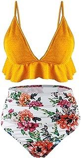 Womens High Waisted Swimsuit Ruffle Print Bikini Swimwear Two Pieces Bathing Suit