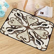 Printed Door mat Apartment Decor for porches Nostalgic Floor Motif with Swirled Floral Heart Shaped Figures Art Print W20 x L30 Beige Brown