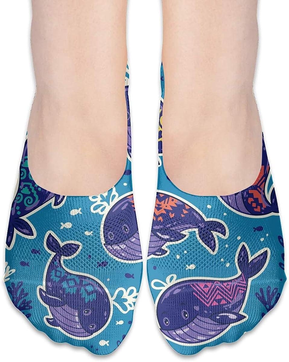 No Show Socks Women Men For Camo Whale Funny Undersea Flats Cotton Ultra Low Cut Liner Socks Non Slip