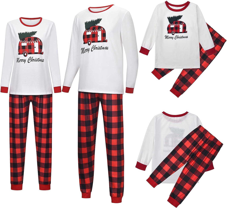 Matching Family Pajamas Christmas Sets - Merry Christmas Pjs Set Long Sleeve Tops and Red Plaid Pants Xmas Sleepwear Sets