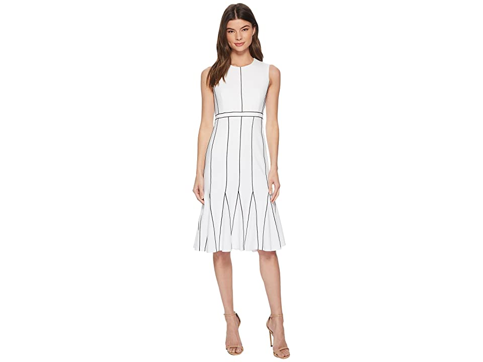 Calvin Klein Piping Fit Flare Dress CD8C16HP (White/Black) Women
