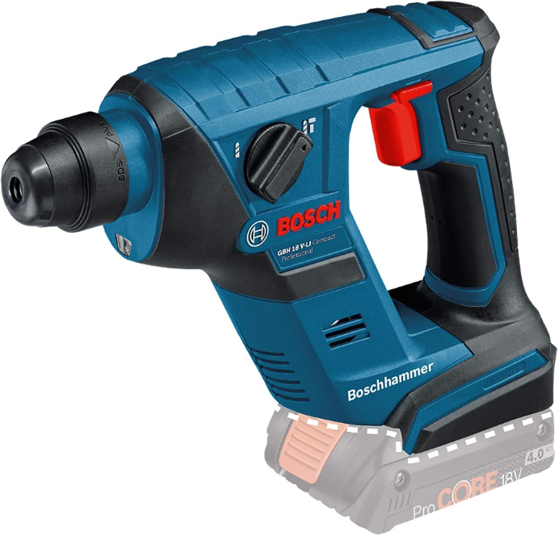 Bosch Professional GBH 18 V-LI Compact Martillo perforador, sin batería, 1 J, diámetro máximo hormigón 12 mm, portabrocas SDS Plus, en Caja, 650 W, Negro, Azul, Rojo