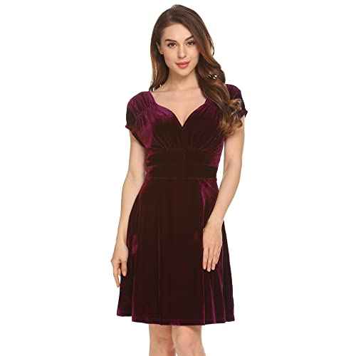 d19e2aa832b50 Meaneor Women Cap Sleeve V-Neck Velvet Backless Ruched Flattering Stretch  Spring Dresses
