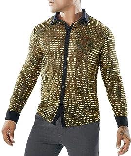 WSPLYSPJY Men's Hipster Shirts Slim Long Sleeve Mesh Sequin Clubwear Sexy Shirts