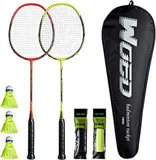 WOED BATENS -2 Player Badminton Set, Carbon Fiber Badminton Rackets Badminton Racquet for Backyards Gym with 3 Shuttlecocks 2 Grip Tape and 1 Badminton Bag, Yellow Orange