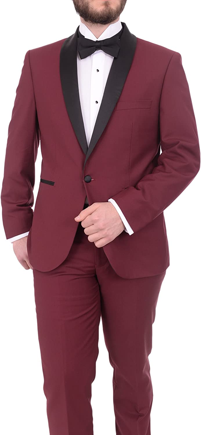 Gino Vitale Slim Fit Solid Burgundy One Button Tuxedo Suit with Shawl Lapel