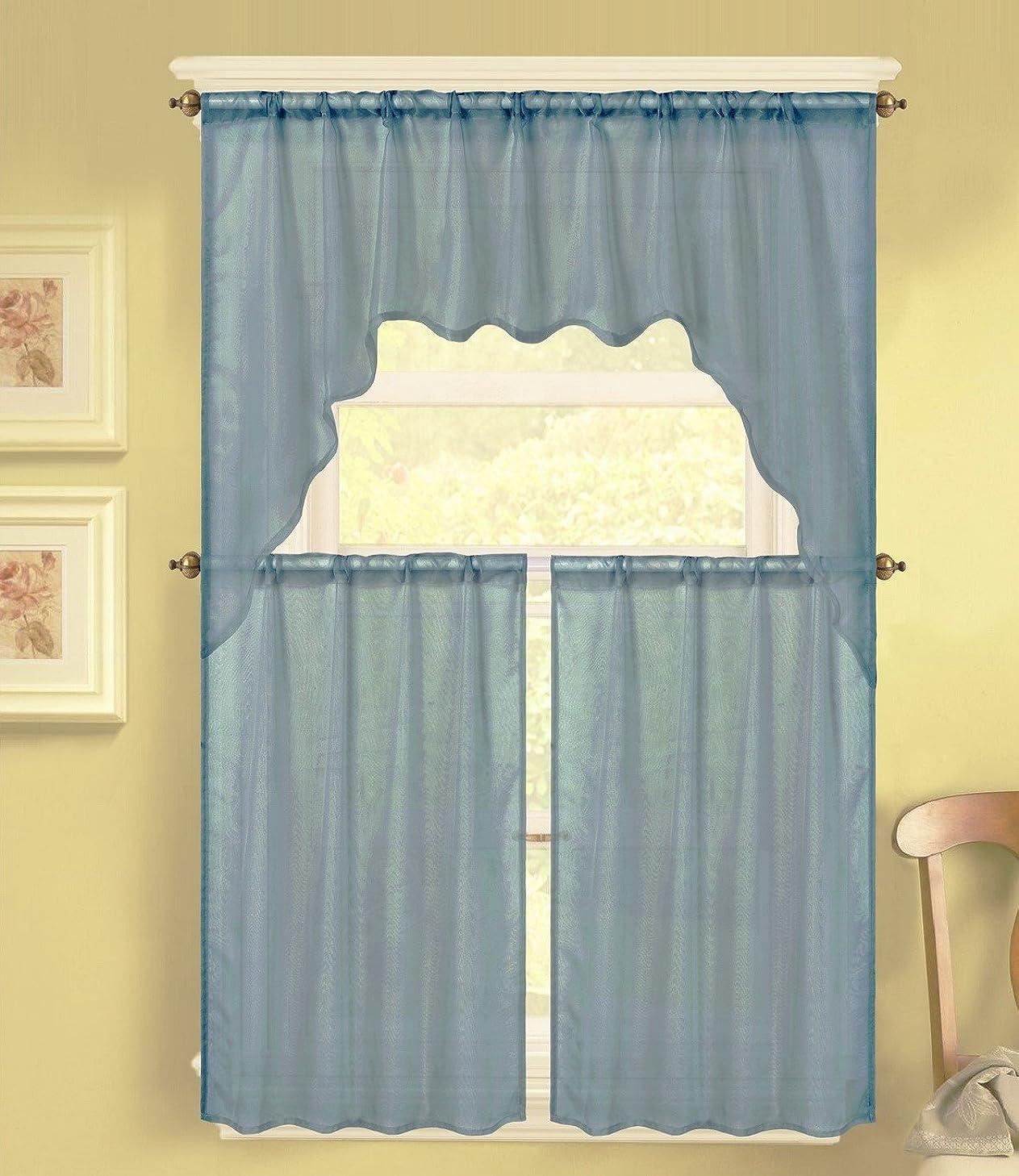 GorgeousHomeLinen (K66) 3 PC Solid Voile Rod Pocket Kitchen Window Sheer Curtain Set 2 Tier Panels, 1 Swag Valance (SLATE BLUE)
