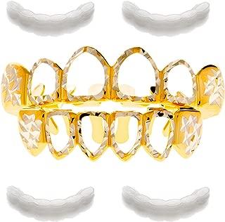METALTREE98 Hip Hop Grillz Diamond-Cut Open Face Top & Bottom Teeth 4pc Fixing Bar LS 001 4 CUT2 G