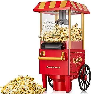 Cozeemax Machine à pop-corn rétro 1200 W pour la maison Machine à pop-corn avec air chaud, machine à pop-corn sans graiss...