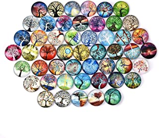SEVENWELL 50pcs Glass Dome Cabochons,25mm Tree of Life Half Round Flat Backed Printed Glass Cabochons