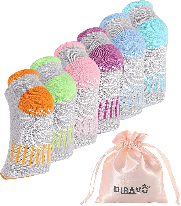 6 Pcs Diravo Non Slip Yoga Socks for Women, Anti-Skid Pilates, Barre, Fitness Socks with Grips, Size 5-10