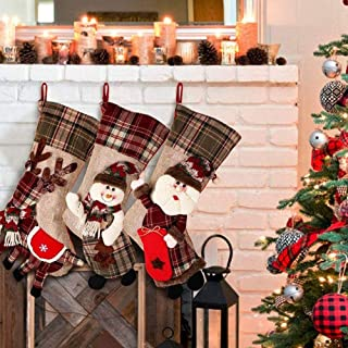 Hanging Decoration Snowman Santa Claus Gift Bags Socks elk Ornaments Gift Bags Christmas Supplies Christmas Stockings,Durability (Color : Three-Piece, Size : 48 * 22 * 25cm)