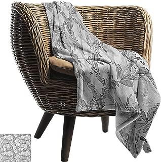 Grunge,Warm Microfiber All Season Blanket,Monochrome Line Art Style Leaves Natural Floral Pattern Sketchy Modern Design 70