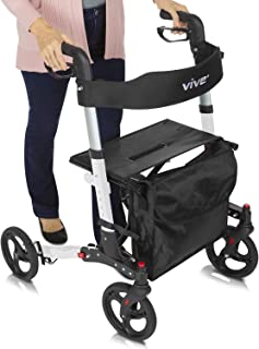 Vive Folding Rollator Walker - 4 Wheel Medical Rolling Walker with Seat & Bag - Mobility Aid for Adult, Senior, Elderly & Handicap - Aluminum Transport Chair (White)