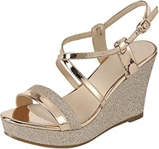 Cambridge Select Women's Open Toe Crisscross Ankle Strappy Mixed Media Glitter Platform Wedge Sandal