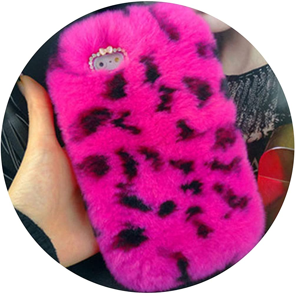 Luxury Rabbit Fur Case for iPhone 8 7 6 6S Plus SE 5 5S Cover Fashion Bling Diamond Winter Soft Furry Shell Plush Phone Cases,Rose Leopard,for iPhone 5 5s SE