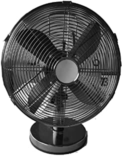 Geepas 12-Inch Metal Table Fan | 3 Speed Settings with Oscillating/Rotating and Static Feature | Electric Portable Desktop...