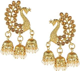 Efulgenz Indian Jewelry Bollywood Gold Plated Crystal Pearl Tassel Wedding Jhumki Big Dangle Peacock Earrings Set