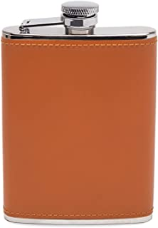 Ettinger Lifestyle Collection Captive Top Leather Bound Hip Flask, 6 Ounces - Tan/Silver