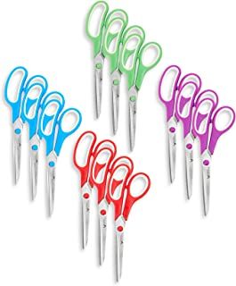 Blue Summit Supplies Multi Purpose Scissors 12 Pack, 8 Inch Household Shears with Comfort Grip, Sharp Scissors for Craft or Office, Assorted Colors, 12 Pack