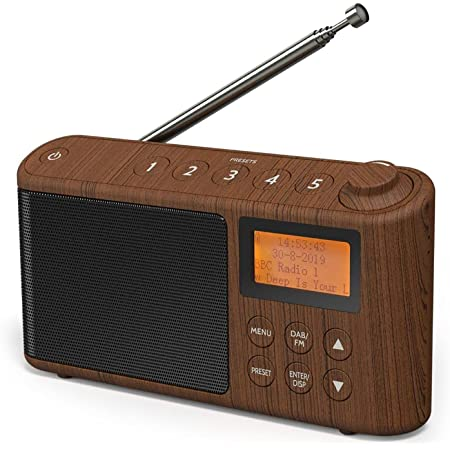DAB/DAB+ & FM Radio, Mains and Battery Powered Portable DAB Radios Rechargeable Digital Radio with USB Charging for 15 Hours Playback (Wood Effect)
