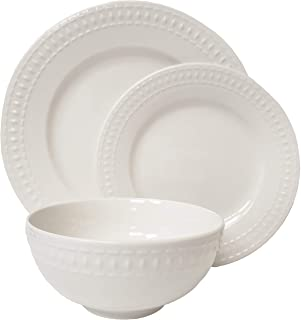 Tabletops Gallery Embossed Bone White Porcelain Round Dinnerware Collection- Chip Resistant Scratch Resistant, Bloom 12 Pi...