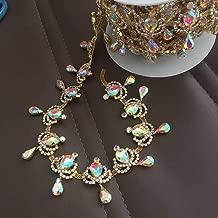 1 Yard Gold Rhinestone Fringe Chain Crystal AB Trim, Bridal Applique Beaded Tassel (Crystal AB - Gold Base)