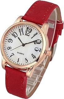 Top Plaza Womens Leather Watch,Fashion Casual Dress Watches,Arabic Numerals Rose Gold Case Analog Quartz Ladies Wrist Watch