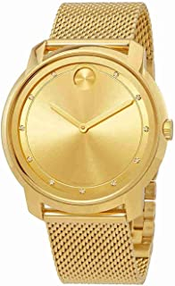 Bold Large Diamond and Gold Plated Mesh Watch 3600460