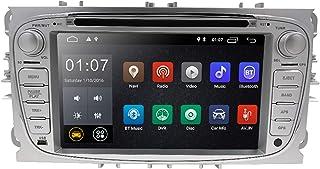 hizpo Android 10 Autoradio Stereo DVD Player Kopfeinheit 7 Zoll Touchscreen In Dash GPS Unterstützung 4G WiFi USB SD CAM IN OBD2 DAB + DVR für Ford Mondeo S max Focus Galaxy C max Silber