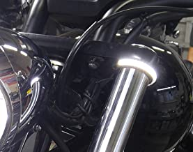 Dual Color White/Amber Razor Fork Mount LED Turn Signals for Honda Fury; White Running Lights with Amber Turns - Smoked Lens
