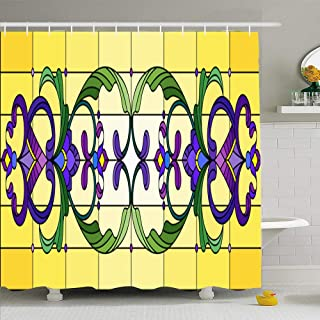 Ahawoso Shower Curtain Set with Hooks 72x78 Batik Example Glass Mosaic Abstract Swirl Swirlsflowers Circle Folk Mirror Contour Curl Embellish Waterproof Polyester Fabric Bath Decor for Bathroom