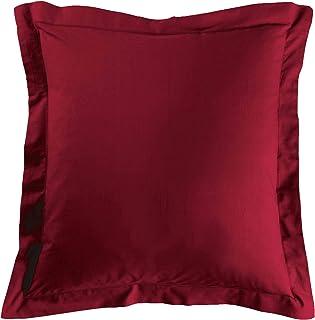 douceur d'intérieur 1640683 Taie d'Oreillers Volant Plat Uni Coton + Point Bourdon 57 Fils Coquelicot 63 x 63 cm