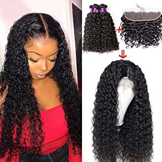 Free Part Water Wave Frontal and Bundles Human Hair Extensions Lace Frontal Water Wave with Bundles Unprocessed Virgin Brazilian Hair Bundles with Closure with Baby Hair Wet and Wavy Hair Bundles