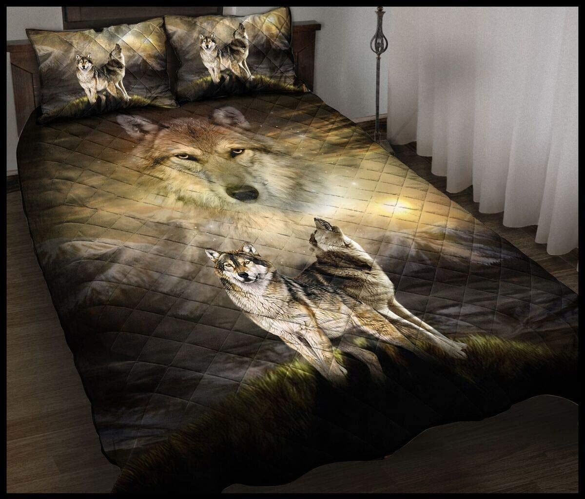 Wolf Howling Night Quilt Xmas King S Queen Max 52% OFF Throw Size Challenge the lowest price of Japan Twin