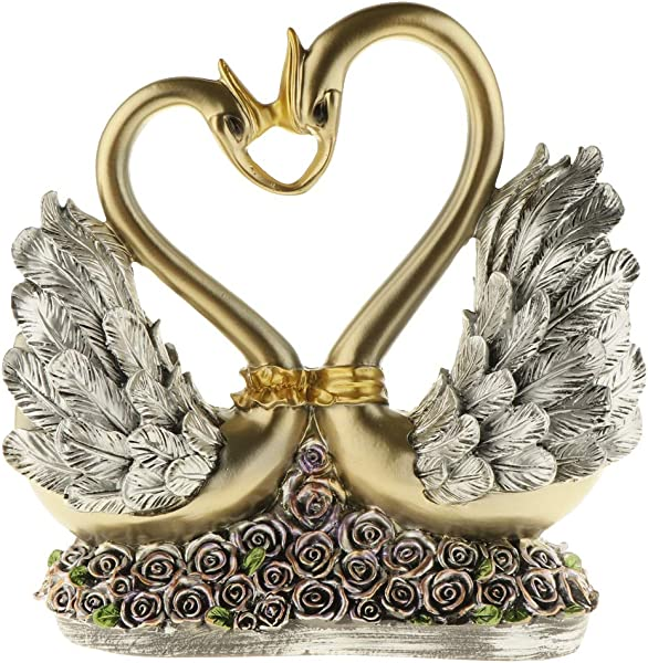 Flameer European Couple Kissing Swan Figurines Home Decoration Wedding Gifts Wine Cabinet Display Resin Crafts Household Swan Miniatures