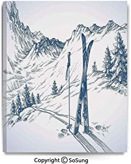 Painting on Canvas Print Sketchy Graphic of a Downhill with Ski Elements in Snow Relax Calm View Wall Art Picture for Living Room Bedroom Wall Decor (16 x 24 inch, Framed) Blue White