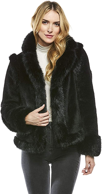 Black Mod Mink Faux Fur Jacket (XS) (Black)