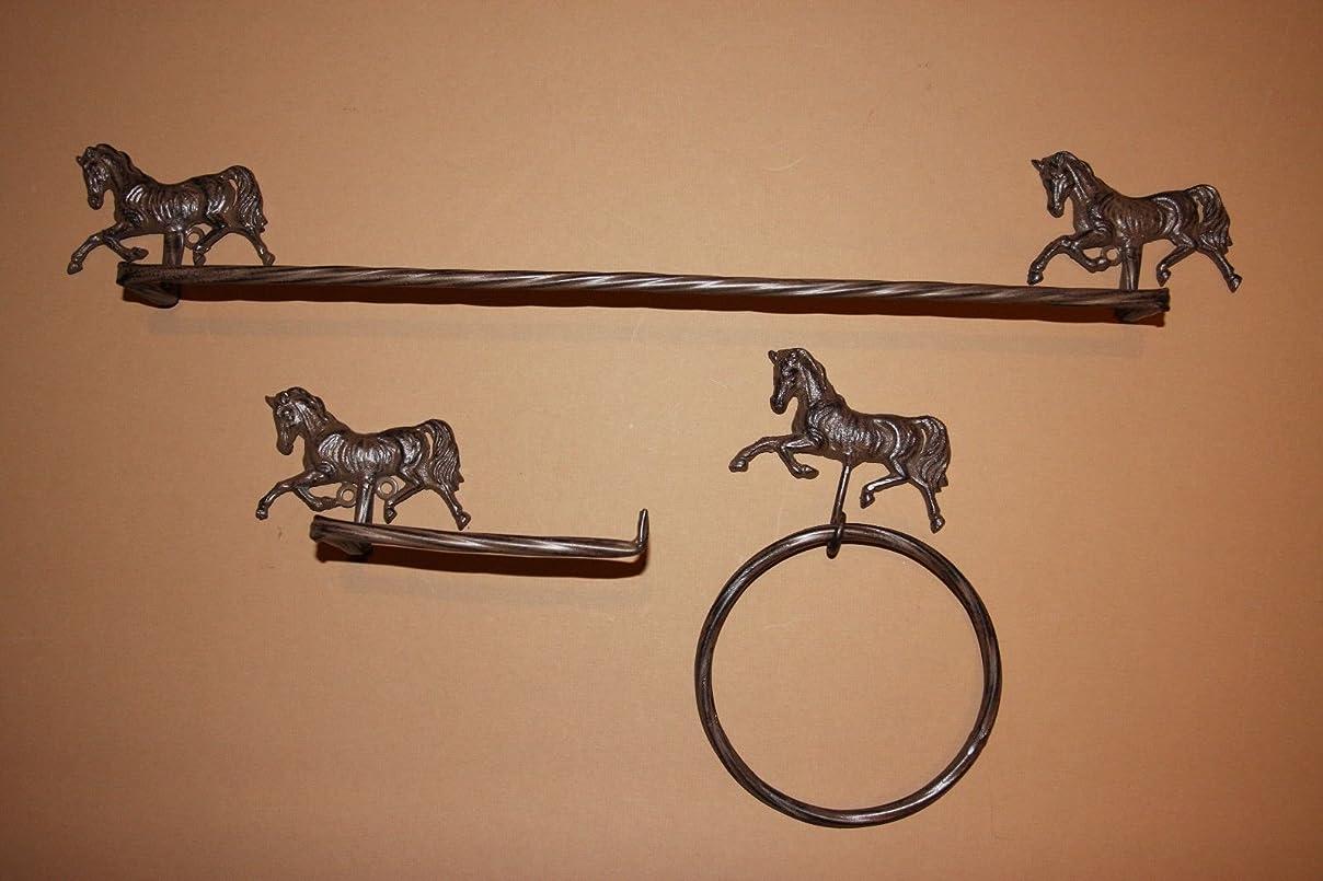 絶望的なジャズ貢献Western HorseデザインバスDecorセット素朴な鋳鉄バンドル- 3項目