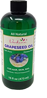 Verdana Pure Grapeseed Oil – Essential for Hair, Skin, Face & Nails – All Natural, Premium Grade, Hexane-Free - Use for Massage, Moisturizer, Body Lotion, Carrier (16 Fl Oz)
