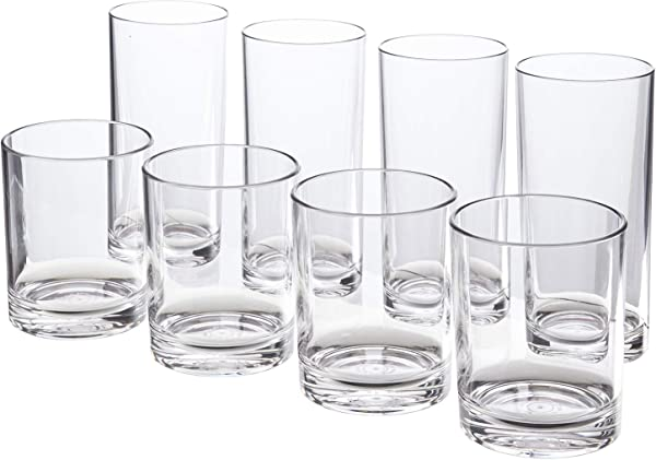 Classic 8 Piece Premium Quality Plastic Tumblers 4 Each 12 Ounce And 16 Ounce Clear