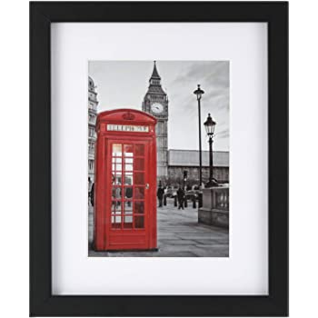 ONE WALL Tempered Glass 8x10 Picture Frame with Mats for 5x7, 4x6 Photo, Black Wood Frame for Wall and Tabletop - Mounting Hardware Included