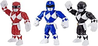 Playskool Heroes Mega Mighties Power Rangers 3-Pack -- Red Ranger, Blue Ranger, and Black Ranger 10-inch Action Figures, Kids Ages 3 and Up
