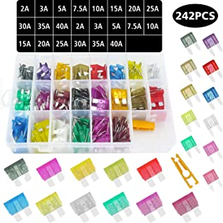 242pcs Blade Car Fuses Assorted Standard & Mini Auto Car Truck Blade Fuses Set- 2A 3A 5A 7.5A 10A 15A 20A 25A 30A 35A 40A-ATC Mini Automotive Replacement Fuse Assortment Puller for Boat,RV,SUV